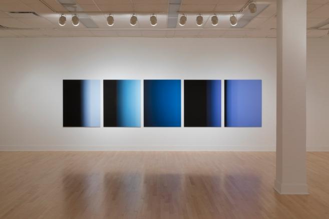 """""""9,9 secondes"""", 2016, impressions à jet d'encre sur papier chiffon montées sur aluminium (photographie), 5 éléments de 125 x 100 cm"""